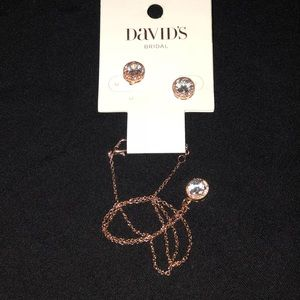 Rose Gold w Faux Diamond Earring Necklace Set